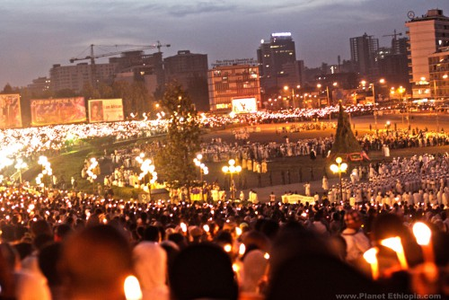 """Meskel (Ge'ez: መሰቀል) is an annual religious holiday in the Ethiopian Orthodox and Eritrean Orthodox Churches commemorating the discovery of the True Cross by Queen Helena (Saint Helena) in the fourth century. Meskel occurs on the 17 Meskerem in the Ethiopian calendar (September 27, Gregorian calendar, or on 28 September in leap years). """"Meskel"""" (or """"Meskal"""" or """"Mesqel"""", there are various ways to transliterate from Ge'ez to Latin script) is Ge'ez for """"cross"""".  The Meskel celebration includes the burning of a large bonfire, or Demera, based on the belief that Queen Eleni had a revelation in a dream."""