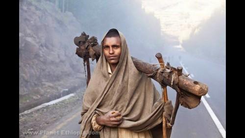 ውርጭ ብርድ ዝናብ ፀሐይ ሳያግድው ምንጊዜም ገበሬ:: Ethiopian Farmer Carrying  a Yoke Heading To The Field