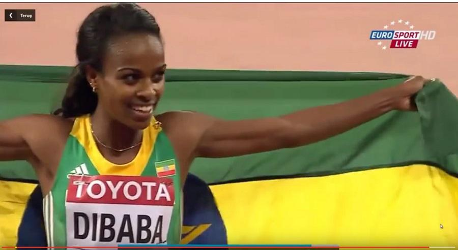Genzebe Dibaba wins the women's 1500m final during the IAAF world cup Beijing 2015