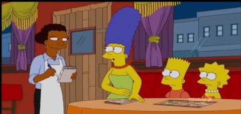 Simpsons at Ethiopian Restaurant